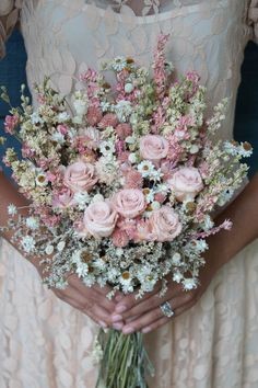 Consists of dried and preserved pale pink roses, dried and preserved strawflowers, dried and preserved pink larkspur, dried and preserved white larkspur, dried Church Wedding Flowers, Wedding Flower Guide, Diy Wedding Bouquet, Bridal Flowers, Floral Wedding, Wedding Ideas, Bridesmaid Bouquet, Purple Wedding, Bridesmaids