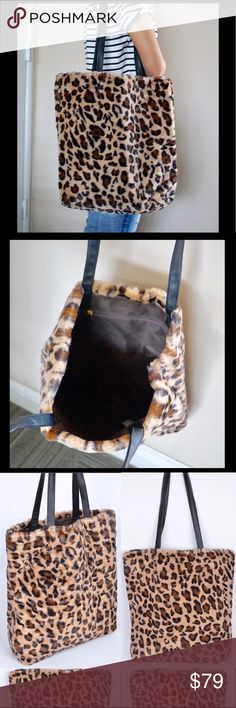 """Leopard faux fur print tote bag Only Two! 🎄🎁 Great Present or accessory for the holiday season!!! Measurements: 16""""W x 15"""" H x 4"""" D Pink Haley Bags Totes"""