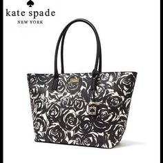 "PRICE DROP Kate Spade Jules in Brightwater FL Dr No tags but this bag is practically new.  Never used. This is even more beautiful up close. Very chic black and off white floral design. Measures approx 13"" qt the bottom 18"" at the top x 11""h 6""w withe 9"" handle drop. kate spade Bags Totes"