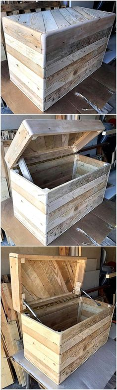 Ted's Woodworking Plans - pallets made chest idea - Get A Lifetime Of Project Ideas & Inspiration! Step By Step Woodworking Plans Carpentry Projects, Cool Woodworking Projects, Diy Pallet Projects, Pallet Ideas, Woodworking Furniture Plans, Pallet Furniture, Teds Woodworking, System Furniture, Furniture Ideas