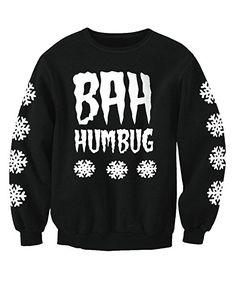 Adult Unisex Bah Humbug Anti Christmas Sweatshirt Jumper Black M