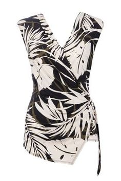 Petite Palm Wrap Ring Side Top, wrap detail will show off waist, large scale print