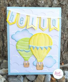 hot air balloons hello card by Joset Van De Burgt