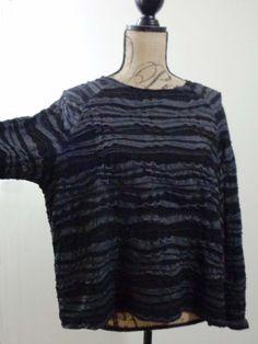 ART TO WEAR Lagenlook OSKA blouse artsy black gray artsy quirky designer sz M #OSKA #Blouse #EveningOccasion