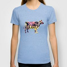 COW - P3A-4 T-shirt by Pia Schneider [atelier COLOUR-VISION] - $22.00 #animals #cow #graphicdesign #vectorart #collage #pattern #purple #violet #art #clothing #tees #tshirt #women #men #fashion