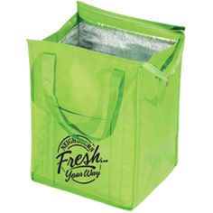 """Big Kahuna Insulated Grocery Bag, 11 1/2"""" W x 15 1/2"""" H x 9 1/2"""" gusset. 19"""" L straps. Bottom Panel Insert 11 1/4"""" x 9 1/4"""".  Made of 80 GSM polypropylene with aluminum lining insulation keeps food hot or cold. Zipper closure and front pocket. Reinforced carrying handles."""