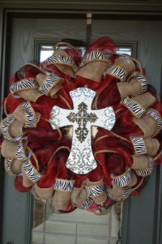 deco mesh wreaths | Deco mesh/burlap cross wreath | wreaths