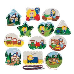 Goldilocks And The Three Bears Lacing Cards - OrientalTrading.com  Wow!  Work on fine motor while lacing the card, and language skills by retelling the story while they lace.