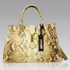 $1,224.00+-+Silvano+Biagini+Designer+Agate+Brown+Python+Leather+Structured+Bag+[01SB8715PLBE]+:+Italian+Leather+Handbags,+Top+Rated+Designer+Hand+Bags,+Trendy+Designer+Handbags