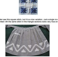 Guide to Gingham Embroidery … or … errr … Chicken Scratch! Snowflake Embroidery, Lace Embroidery, Cross Stitch Embroidery, Embroidery Patterns, Chicken Scratch Patterns, Chicken Scratch Embroidery, Little Stitch, Gingham Fabric, Sewing Aprons