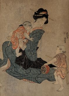 """Katsushika Hokusai, """"Woman and two children,"""" 1880-1910. Full-color woodcut. 15 1/16 x 10 7/16 in. (38.2 x 26.5 cm). Collection UCLA Grunwald Center for the Graphic Arts, Hammer Museum.  Mary Bell Gere Estate."""