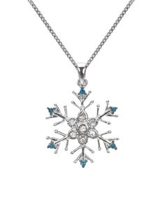 Blue Diamond & Sterling Silver Snowflake Pendant Necklace | Daily deals for moms, babies and kids