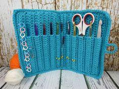 Crochet hook case, Crochet case wallet, storage for crochet hooks, turquoise orange needle case, crochet hook gift, 10 hook Crochet case - pinned by pin4etsy.com