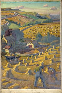 "workman: ""indigodreams: modern-traditionalism: 'Harvesting' - Adrian Allinson 1939-1946 """