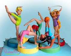 Cake Decorating ideas -The energetic ladies Gymnastics Birthday Cakes, Gymnastics Party, Gymnastics Suits, Fondant Toppers, Fondant Cakes, Cupcake Cakes, Gym Cake, Ballet Cakes, Ballerina Cakes