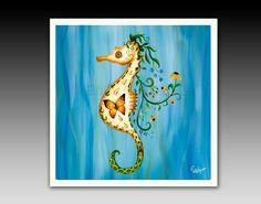 Seahorse Ceramic Tile with Hook by ArtistEmilyTerrell on Etsy https://www.etsy.com/listing/176699024/seahorse-ceramic-tile-with-hook