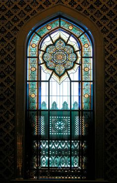 One of the many intricate design stained glass windows at the Sultan Qaboos Grand Mosque. Made by the glass studio France Vitrail International. Leaded Glass, Stained Glass Art, Stained Glass Windows, Mosaic Glass, Church Windows, Windows And Doors, Islamic Architecture, Architecture Details, Art Du Monde