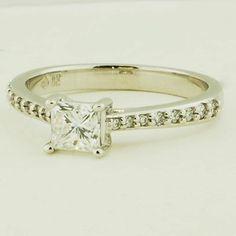 18K White Gold Petite Tapered Pave Diamond Trellis Ring - Set with 0.50 Carat, Princess, Very Good Cut, D Color, VVS2 Clarity Diamond #BrilliantEarth