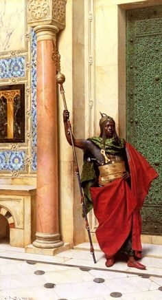 THE NUBIAN GUARD. ORIENTALIST PAINTING BY LUDWIG DEUTSCH