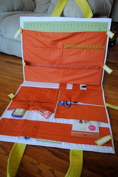 On the Go Tote-Inside Pockets by cce181, via Flickr, sewing tote with lots of pockets. Pattern from Whirligig Designs