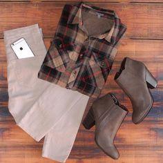 chemise carreaux une chemise carreaux marron beige bottines marron rouge bottines talon automne chemise automne simple carreaux http