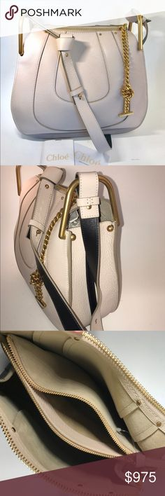 """Chloe Hayley Small Abstract White Authentic, Chloe Hayley in Abstract White. This color is so crisp and light.  It's truly a stunning bag. Hobo shoulder bag with adjustable strap. Pls note one of the hinge balls was replaced. The location makes it not noticeable. 4"""" Deep X 11"""" High X 12"""" Wide Chloe Bags"""