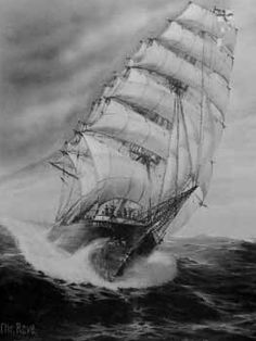 "The Seeadler, or ""Sea Eagle,"" three-masted windjammer raider, successfully commanded by the German Navy's famous ""Sea Devil,"" Graf Felix von Luckner, against 14 merchant ships during World War I. Depiction is a painting by Christopher Rave."