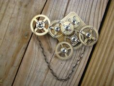clock gears brooch