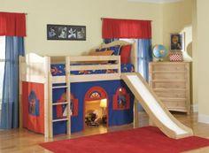 Luxury Cheerful Kids Loft Bed Design With Navy Blue Tent And Slide Kids Loft Bunk Beds - Elites Home Decor Cool Loft Beds, Modern Bunk Beds, Modern Loft, Modern Bedroom, Modern Contemporary, Bunk Bed With Slide, Bunk Beds With Stairs, Bed Slide, Kids Bed With Slide