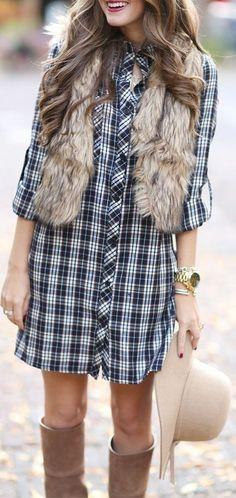 Faux Fur Vest + Plaid Shirt Dress                                                                             Source