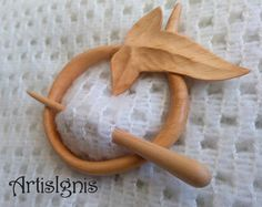 Elfic Leaf Shawl Pin or Hair Slide Handmade Alder Wood Shawl