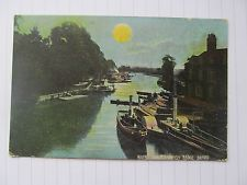 old postcard, River Isis from Folly Bridge Oxford, boats, colour,