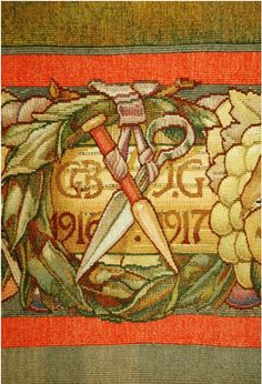 Detail from the Lord of the Hunt - The initials of original weavers Gordon Berry and John Glassbrook woven in to the Lord of the Hunt. The tools of their trade also mark their untimely deaths. - Mount Stuart :: The Edinburgh Tapestry Company