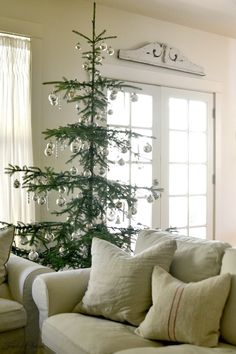 french country decor ideas for living room Classy Christmas, Noel Christmas, Green Christmas, Rustic Christmas, Beautiful Christmas, Winter Christmas, Noble Fir Christmas Tree, Minimalist Christmas Tree, Types Of Christmas Trees