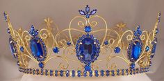 RHINESTONE IMPERIAL CELTIC JEWELLED MEN'S GOLD BLUE CROWN