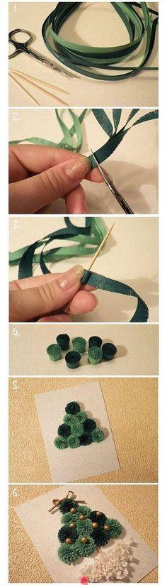 Arbol pompones de cinta.tutorial