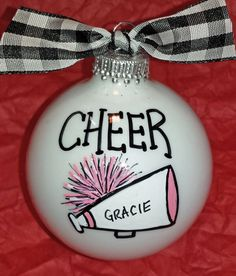 Cheer Hand Painted Personalized Ornament Cheer by HappyYouHappyMe