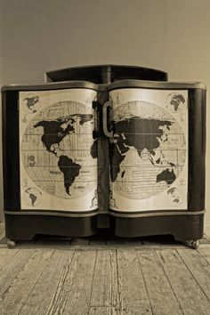 1930's decoupaged 'map' sideboard