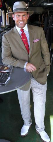 Jay in his derby outfit! A Jack Victor coat, Zanella slacks and Robert Talbott tie.