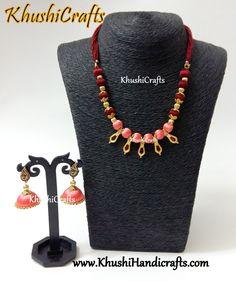 Peach and Maroon Designer silk thread neck piece accompanied with Peach shaded silk thread Jhumkas!