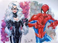Spider-Man and Black Cat Spiderman Black Cat, Venom Spiderman, Black Cat Marvel, Spiderman Art, Spectacular Spider Man, Amazing Spider, Comic Books Art, Comic Art, Book Art
