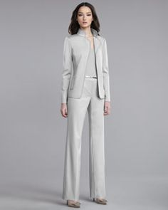 -3T5L St. John Collection Milano Knit Jacket, Ultra-Fine Rib-Knit Shell & Shelley Pants
