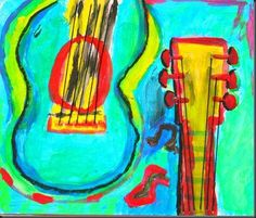 Students studied the art of Jazz music for this project. We listened to Jazz and I had people come to the class to play various instrumen. 5th Grade Art, Eighth Grade, Music Illustration, Illustrations, Jazz Art, Guitar Art, Jazz Guitar, Art Lessons Elementary, Painting Lessons