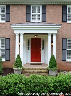 Ever wonder how much it cost to build or add on a front porch. Here's a breakdown of the cost to build a small front porch with columns. Portico Entry, Front Porch Columns, Small Front Porches, Front Porch Design, Front Door Entrance, Front Entrances, Entrance Ideas, Porch Overhang, Door Ideas
