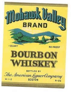 Mohawk Valley Bourbon Whiskey Label 1930s by thecollectiblechest