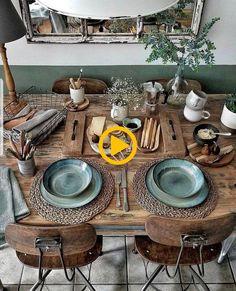 Boho Chic Decor DIY that inspires creativity Boho Chic Dekor Natural Wood Table, Deco Table, Home And Deco, Decoration Table, Decoration Design, Room Decorations, Home Decor Inspiration, Decor Ideas, Design Inspiration