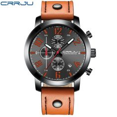 a9e3de1ea796 Relogio Masculino CRRJU Creative Luxury Quartz Men Watch Leather  Chronograph Army Military Sport Watches Clock Men