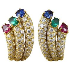 Vintage Diamond, Emerald, Ruby and Sapphire Clip Back Earrings in 18 Carat Gold 1