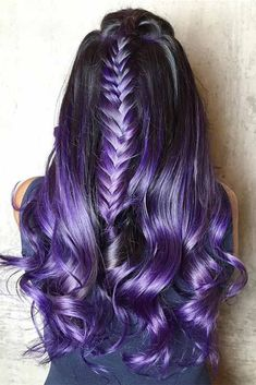 Trendy Hair Color : Dark purple hair: let us discuss the basics at first. This hair color is unnatur. Dark Purple Hair Color, Cool Hair Color, Purple Hues, Purple Style, Hair Colour, Pink Purple, Hair Color 2017, New Hair Colors, Dream Hair