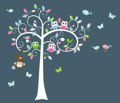 Nursery Wall Decal - Vinyl Decal - Tree Birds Owls (32138)